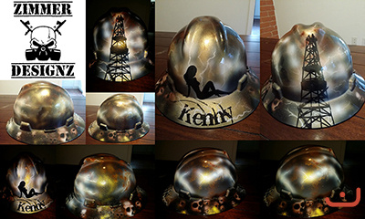 Oilfield gold and skulls hard hat