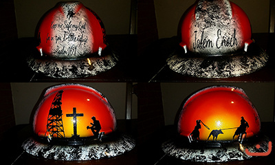 praying roughneck and cowboy hard hat