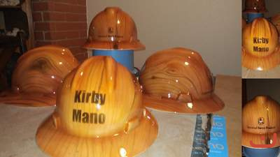 custom painted hard hat with wood finish theme