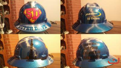 custom hard hat super dave painted
