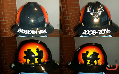 buckhorn mine painted hard hat rescue team