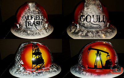 white and black oilfield trash hard hat
