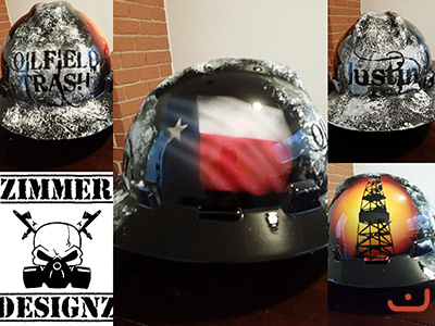 Oilfield Trash hard hat with Lonestar flag.