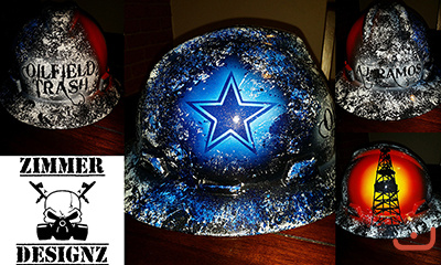 Dallas Cowboys themed oilfield trash hard hat