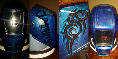 custom welding helmet in blue with tribal design