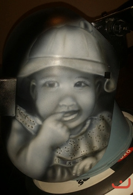 kids portrait on welding hood