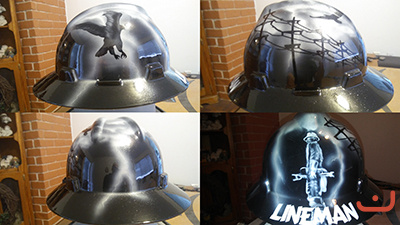 Custom hard hat Lineman theme