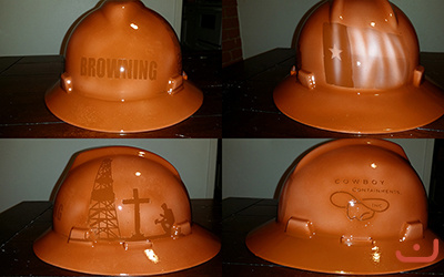 faux leather painted hard hat oilfield theme