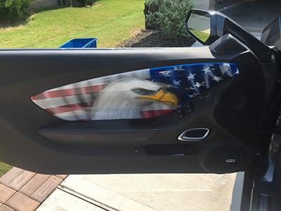 Door panel custom painted flag and eagle