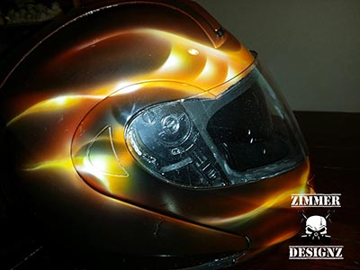Custom painted motorcycle helmet flames black, red, orange and yellow