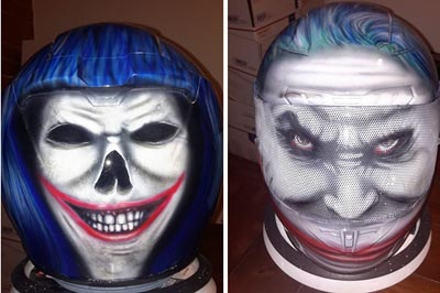 Joker painted motorcycle helmet