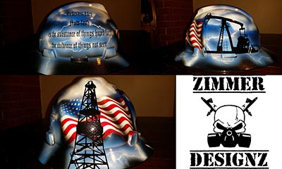 american flag and derrick hard hat