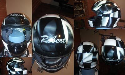 checkered flag custom painted motorcycle helmet
