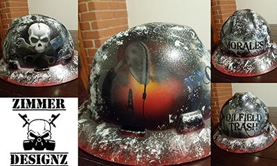 custom drilling hard hat with pum pjack