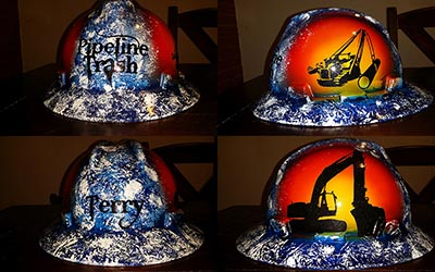 pipeline trash custom hard hat for pipeliners