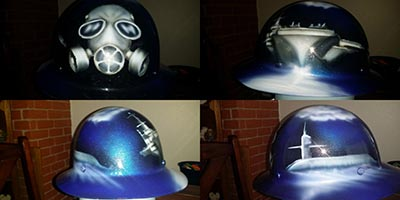 submarine destroyer painter mask hard hat airbrushed