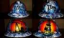 Blue and white oilfield trash hard hat with derrick and pumpjack