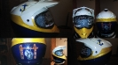 Custom painted navy motorcycle helmet