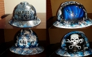 Oilfield Trash custom painted hard hat with skull