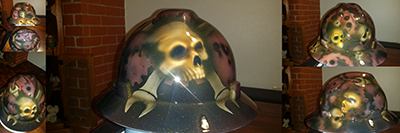mechanic skulls and gears hard hat